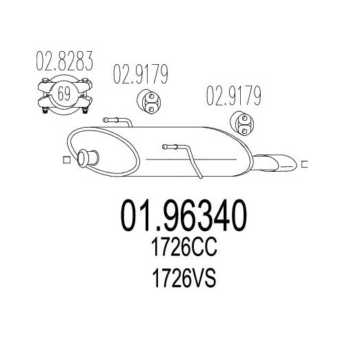 CC Cabrio Auspuff MTS Endtopf NEU Peugeot 206 2.0 16V S16 Anbauteile